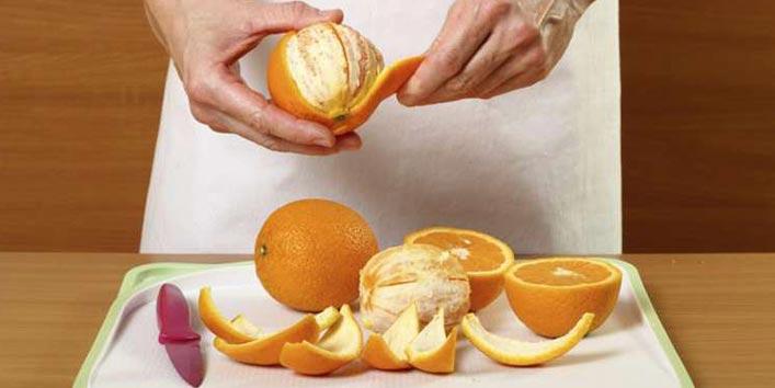 नींबू या संतरे के छिलके